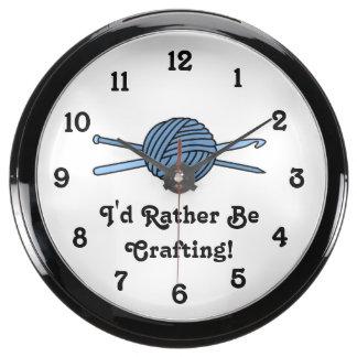 Bola azul del hilado (punto y ganchillo) relojes pecera