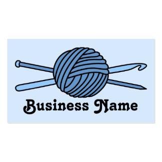 Bola azul del hilado (punto y ganchillo) tarjetas de visita