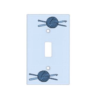 Bola azul del hilado (punto y ganchillo - versión placas para interruptor