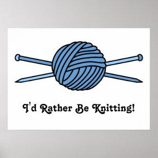 Bola azul del hilado y de las agujas que hacen póster