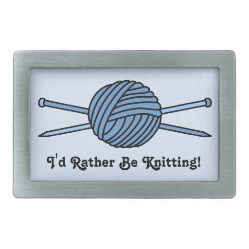 Bola azul del hilado y de las agujas que hacen pun hebilla cinturón rectangular