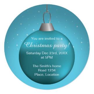 """Bola azul del navidad invitación 5.25"""" x 5.25"""""""