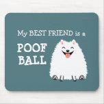 Bola blanca divertida del Poof de Pomeranian Alfombrillas De Ratones