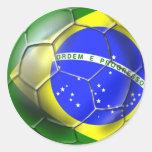 Bola brasileña de la bandera del fútbol de la pegatina redonda