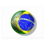Bola brasileña de la bandera del fútbol de la tarjeta postal