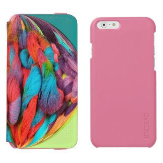 Bola brillante de las madejas multicoloras del funda billetera para iPhone 6 watson