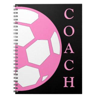 Bola-Coche rosado del fútbol Libreta Espiral