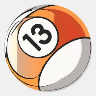 Bola cómica de Billards del número de estilo 13 Pegatina Redonda