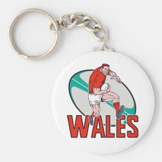 Bola corriente País de Gales del jugador del rugbi Llavero