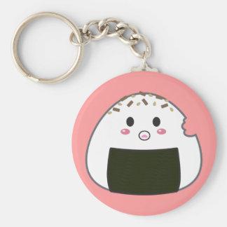 "Bola de arroz de Kawaii ""Onigiri"" con Bitemark Llavero Redondo Tipo Pin"