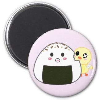 "Bola de arroz de Kawaii ""Onigiri"" con Ejiki el pol Imán Redondo 5 Cm"