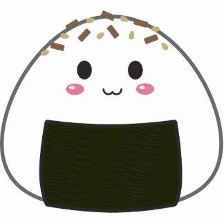 """Bola de arroz de Kawaii """"Onigiri"""" con los desmoche Llavero Fotográfico"""