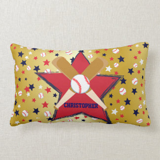 Bola de bates de béisbol y oro personalizados de almohada
