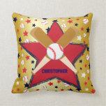 Bola de bates de béisbol y oro personalizados de l almohadas