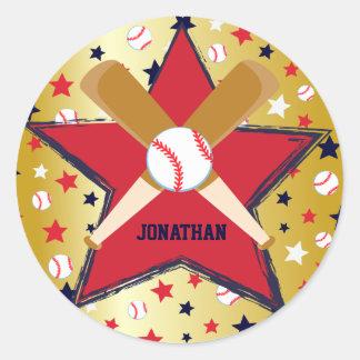 Bola de bates de béisbol y oro personalizados de pegatina redonda