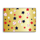 Bola de bates de béisbol y sobres del color oro de
