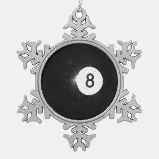 Bola de billar #8 adorno de peltre en forma de copo de nieve