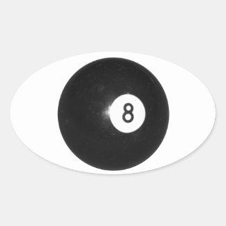Bola de billar #8 calcomania óval