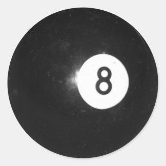 Bola de billar #8 pegatina redonda