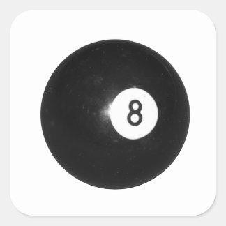 Bola de billar #8 pegatina cuadrada