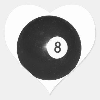 Bola de billar #8 pegatina en forma de corazón