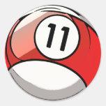 Bola de billar cómica del número de estilo 11 pegatina