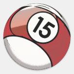 Bola de billar cómica del número de estilo 15 pegatina redonda