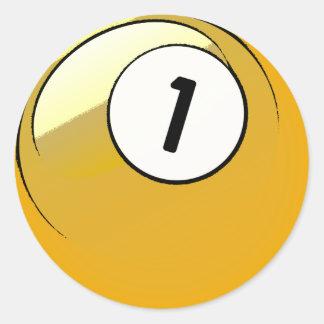 Bola de billar cómica del número de estilo 1 pegatina redonda