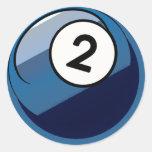 Bola de billar cómica del número de estilo 2 pegatina redonda