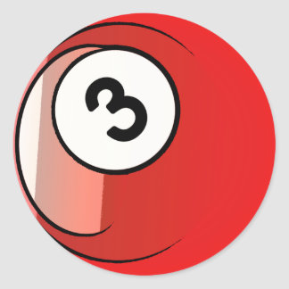 Bola de billar cómica del número de estilo 3 pegatina redonda