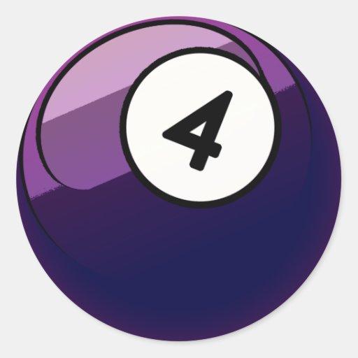 Bola de billar cómica del número de estilo 4 pegatina redonda