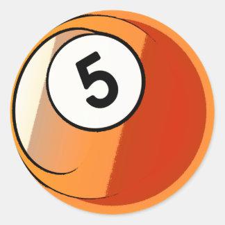 Bola de billar cómica del número de estilo 5 pegatina redonda