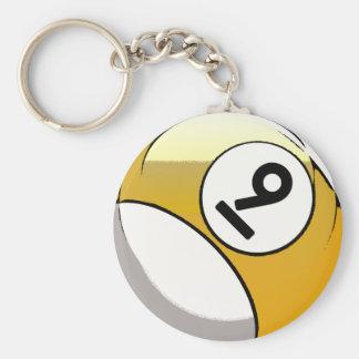 Bola de billar cómica del número de estilo 9 llavero redondo tipo pin