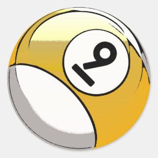 Bola de billar cómica del número de estilo 9 pegatina redonda