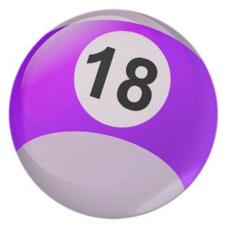 Bola de billar del número 18 plato para fiesta