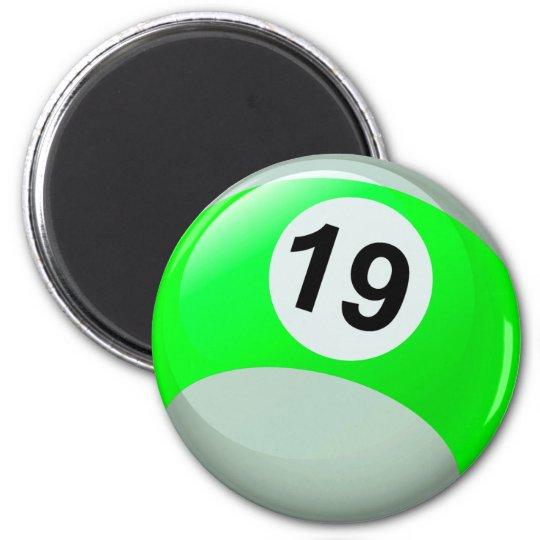 Bola de billar del número 19 imán redondo 5 cm