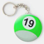 Bola de billar del número 19 llavero