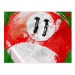 Bola de billar del número de arte abstracto 11 postal