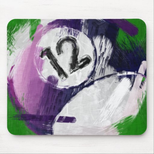 Bola de billar del número de arte abstracto 12 tapete de ratones