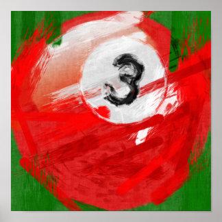 Bola de billar del número de arte abstracto 3 posters
