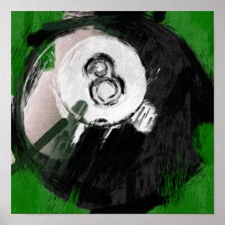 Bola de billar del número de arte abstracto 8 poster