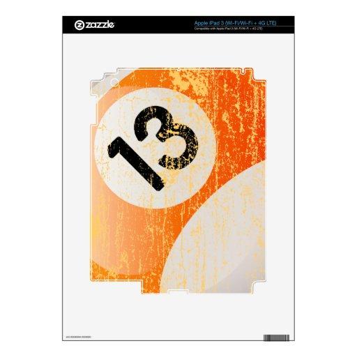Bola de billar del número de estilo 13 del Grunge iPad 3 Pegatinas Skins