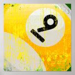 Bola de billar del número de estilo 9 del Grunge Poster