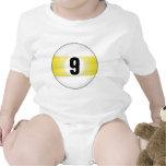 Bola de billar del número nueve trajes de bebé