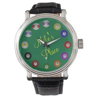Bola de billar numerada con nombre reloj de mano