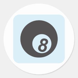 Bola de billar número ocho etiquetas redondas