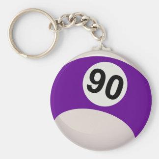 Bola de billar púrpura del número 90 llaveros