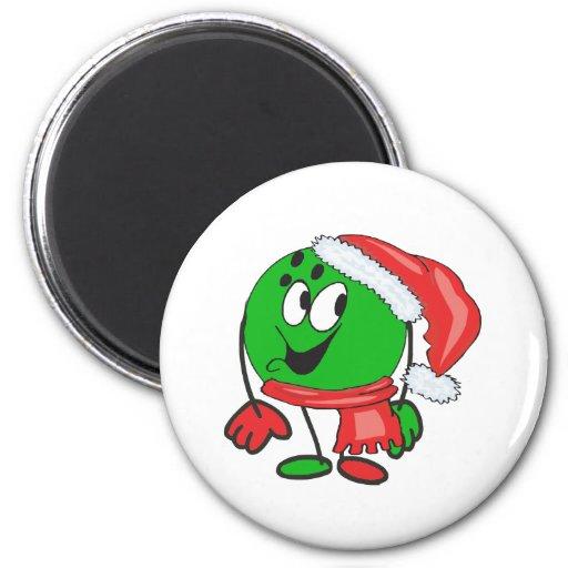 Bola de bolos de las felices Navidad que lleva un  Imanes De Nevera