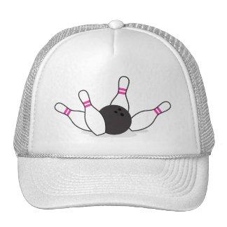 Bola de bolos que golpea abajo los pernos - rosas  gorras de camionero