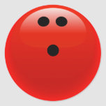 Bola de bolos roja pegatinas redondas